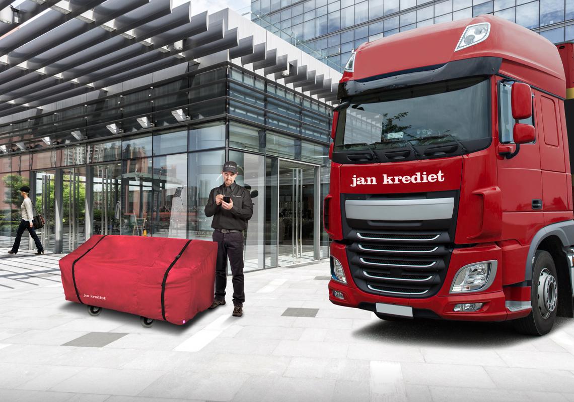 Vrachtwagen met bezorger - Fullservice logistiek partner - Jan Krediet